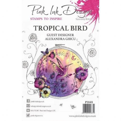 Pink Ink A5 Tropical Bird Clear Stamp Set